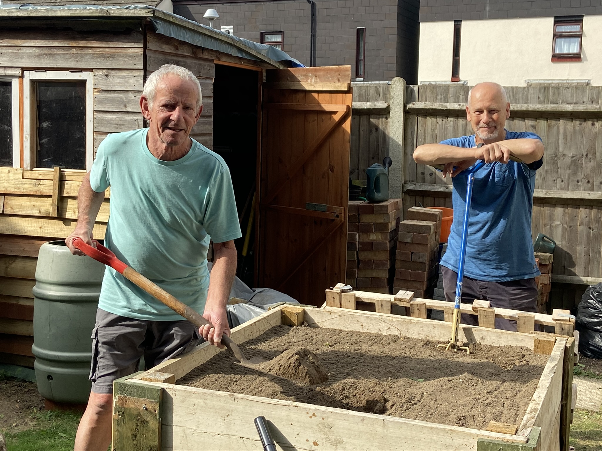 Golding Homes residents John Rose and Vincent Jasper in the community garden at Titchfield Close, Maidstone